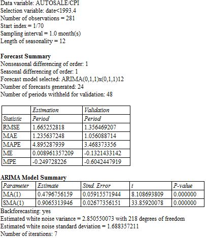 General seasonal ARIMA models -- (0,1,1)x(0,1,1) etc